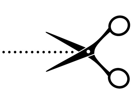 black cutting scissors with points on white background