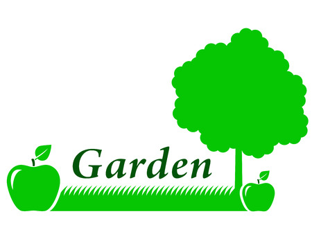 garden background with green apple and green grass