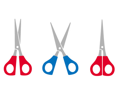 cutting scissors: colorful cutting scissors set on white background Illustration