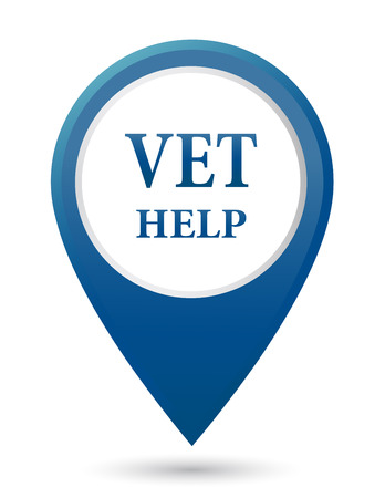 cat call: blue veterinarian help icon on white background Illustration