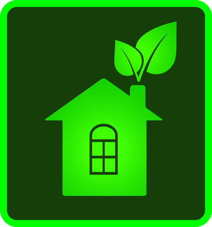 lawns: green icon of eco house with leaf and window
