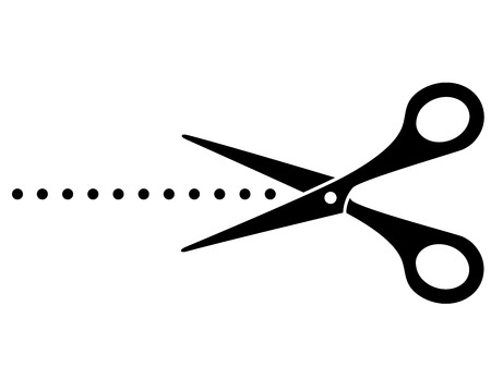cutting scissors: black cutting scissors icon and points on white background