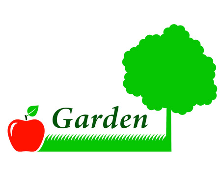 tree grass: garden background with tree silhouette, grass and red fruit