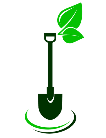 lawn care: icon with shovel and green leaf on white background Illustration