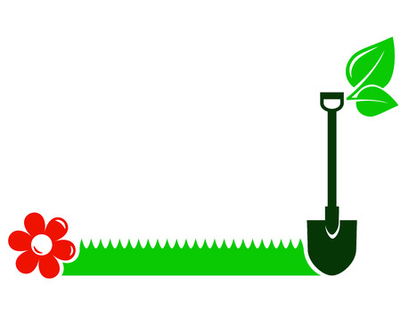 lawns: garden background with shovel, green grass, flower, leaf and place for text