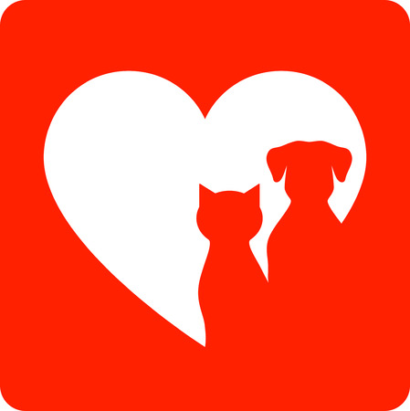 cat call: red veterinary sign with pet silhouette and heart