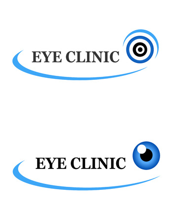 beauty surgery: two icons of eye clinic on white background