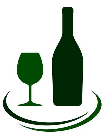 decorative lines: icono botella de vino con l�neas de vidrio y decorativos en el fondo blanco