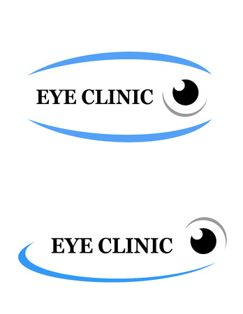 contact lens: icon of eye clinic with decorative line
