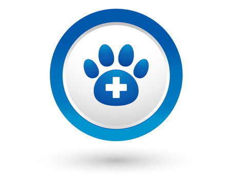 cat call: round veterinary icon with pet paw and cross
