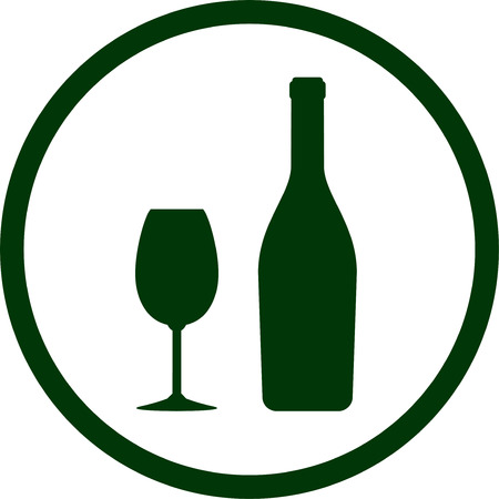bottle wine: abstract white wine bottle and glass icon in round frame Illustration