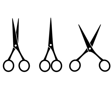 hair cutting: three black isolated cutting scissors on white background