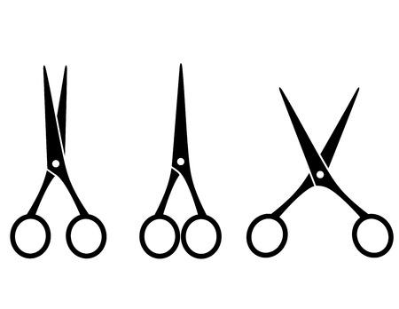 scissor: three black isolated cutting scissors on white background