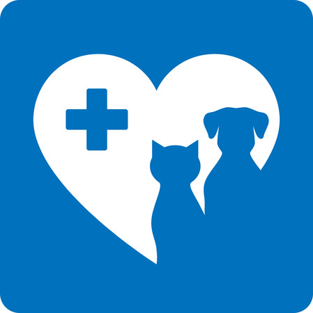 veterinary icon: blue veterinary icon with pet, heart and cross