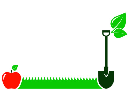fertilizers: garden background with green grass, red fruit, leaf and shovel