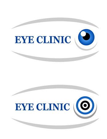 contact lens: sign of eye clinic on white background