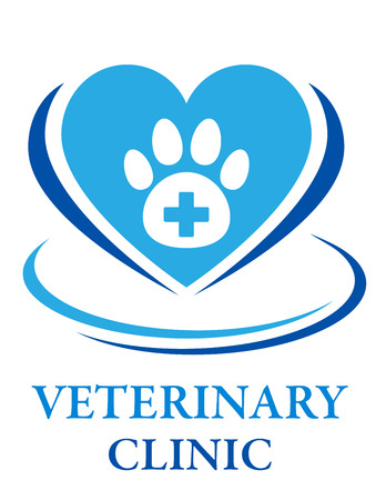 sign of veterinary clinic with heart, cross, paw and decorative line Illustration