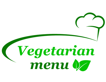 vegetarian menu background with chef hat and green leaf Illustration