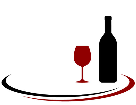 expensive food: black wine bottle and red glass silhouette with place for text Illustration