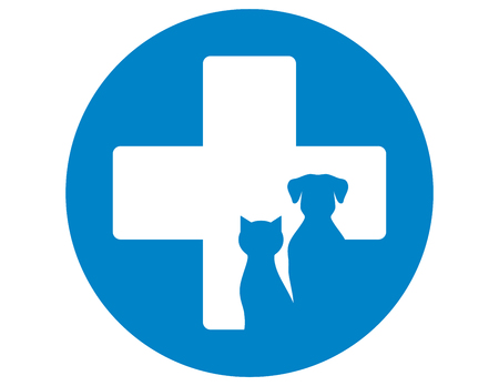 logo medicina: icono azul veterinaria redonda con los animales domésticos y cruz Vectores