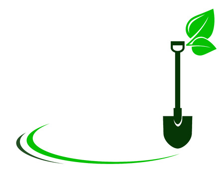 flower logo: garden background with shovel, green leaf and decorative element