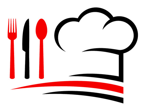 knife fork: restaurant emblem with chef hat, fork,knife and spoon