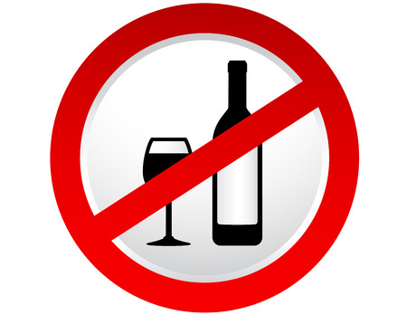 stop alcohol sign with bottle and wine glass Ilustração