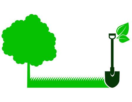 ツリーのアイコン、草の葉とシャベルと緑の庭の背景