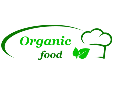 saludable logo: muestra verde de alimentos orgánicos con el sombrero del cocinero y de la hoja
