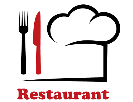 decorative restaurant icon with chef hat and fork, knife Illustration