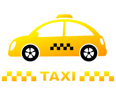 car rent: cute taxi car and yellow stripe on white background