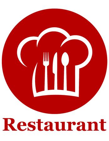 gorro chef: icono rojo de restaurante con tenedor, cuchillo, cuchara y el sombrero del cocinero