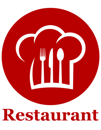 knife fork: red restaurant icon with fork, knife, spoon and chef hat