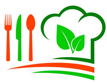kitchener: vegetarian restaurant emblem with green leaf and cutlery