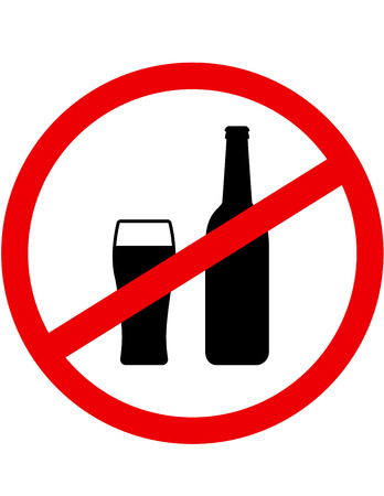 sign stop alcohol with beer bottle and glass Иллюстрация