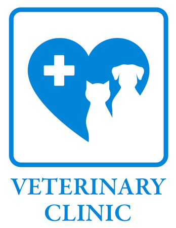 cat call: veterinary clinic icon with blue heart and cross in frame