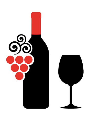 food and wine: wine bottle, glass and grape silhouette on white background Illustration