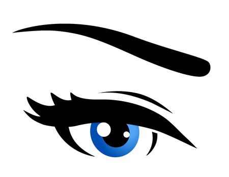 blue eye: blue eye icon on white background Illustration
