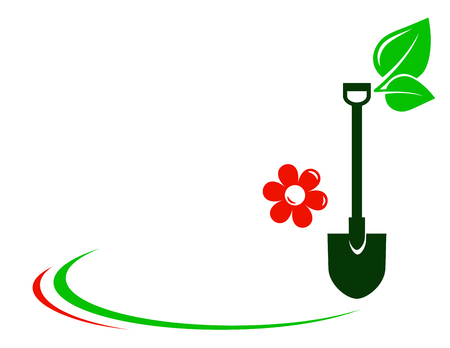 lawns: gardening background with flower and decorative element Illustration