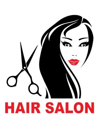 man long hair: hair salon sign with beautiful woman face and long hair Illustration