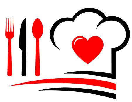 restaurant embleem met hart, chef hoed en vork, mes