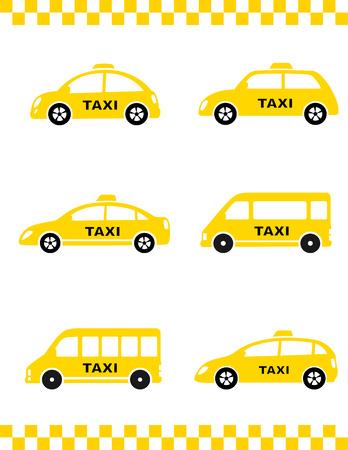 automotive set van geïsoleerde gele taxi auto op witte achtergrond