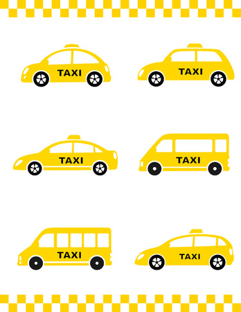 automotive set of isolated yellow taxi car on white background Illustration