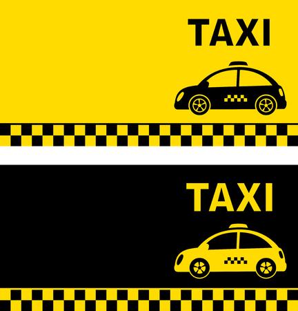 black and yellow business card with retro taxi car silhouette Illusztráció