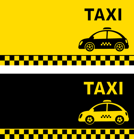 black and yellow business card with retro taxi car silhouette Illustration