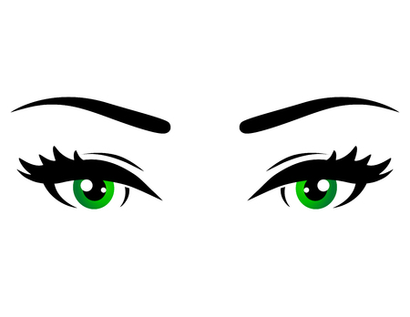 brow: green woman eyes with brow on white background