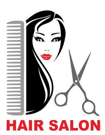 hair salon icon with pretty brunette girl, scissors and comb