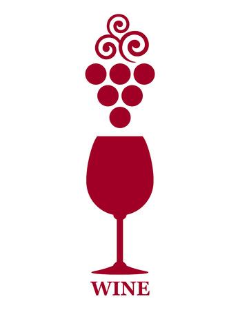 白い背景の上のブドウ支店と赤ワインのゴブレット記号