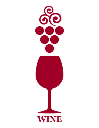 grapes on vine: red wine goblet sign with grape branch on white background Illustration