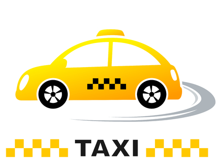 move: fast cartoon taxi car on the way with taxi sign
